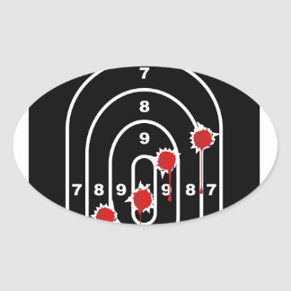 Human Shape Target With Bullet Holes Oval Sticker