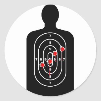 Human Shape Target With Bullet Holes Round Sticker