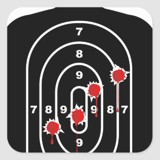 Human Shape Target With Bullet Holes Square Sticker