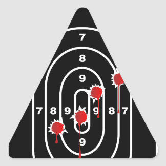 Human Shape Target With Bullet Holes Triangle Sticker