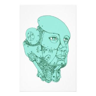 Humanoid Robot Head Female Monoline Stationery