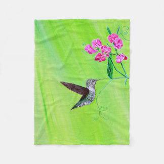 Hummingbird and Sweet Peas Fleece Blanket