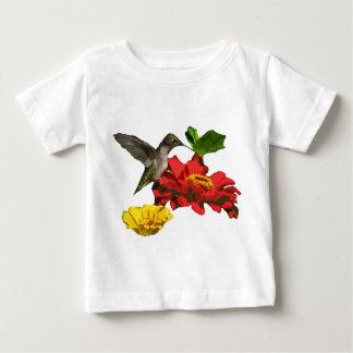 Hummingbird and Zinnia Flowers Baby T-shirt