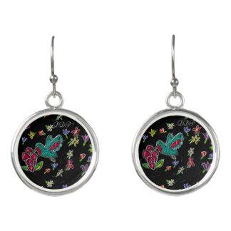 hummingbird art earrings