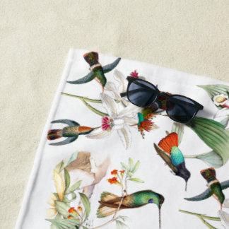 Hummingbird Birds Tropical Flowers Beach Towel