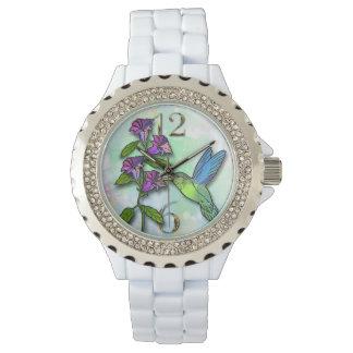 hummingbird flower rhinestone watch