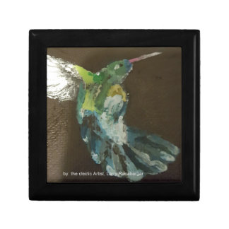 """Hummingbird in flight!"" small Square ceramic Tile Gift Box"
