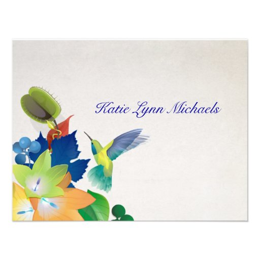 Hummingbird Personalized Notecard Personalized Invites