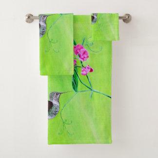 Hummingbird & Sweet Peas Bath Towel Set