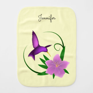 Hummingbird with pink flower name baby girl burp cloth