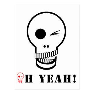 "Humor Fun Skull Modern Illustration 'Oh Yeah"" Postcard"