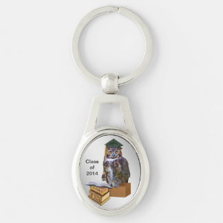 Humorous 2014 Graduation Owl Silver-Colored Oval Key Ring