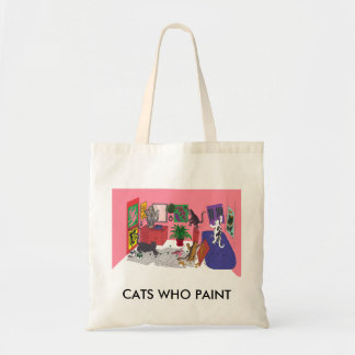 Humorous Color Drawing of House Cats Who Paint Tote Bag
