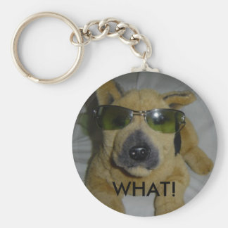 Humorous Dog in Glasses Basic Round Button Key Ring