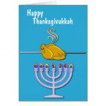 Humorous Thanksgivukkah Custom Greeting Card