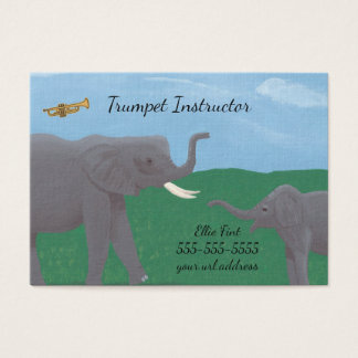 Humour Elephants Trumpet Instructor Business Cards