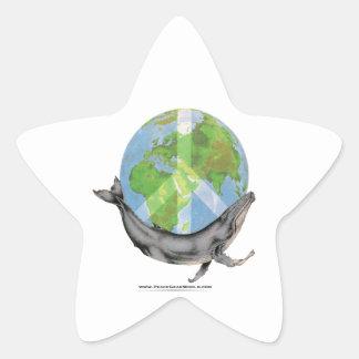 Humpback Whale Peace design. Star Sticker