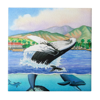 Humpback Whales Small Square Tile