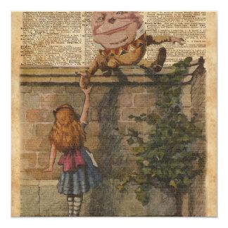 Humpty Dumpty & Alice Vintage Book Illustration 13 Cm X 13 Cm Square Invitation Card