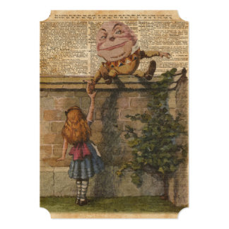Humpty Dumpty & Alice Vintage Book Illustration 13 Cm X 18 Cm Invitation Card