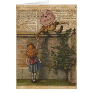 Humpty Dumpty & Alice Vintage Book Illustration Card