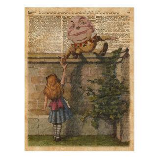 Humpty Dumpty & Alice Vintage Book Illustration Postcard
