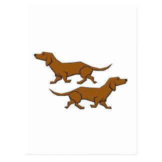 Hunde Dackel sausage dogs Postkarte