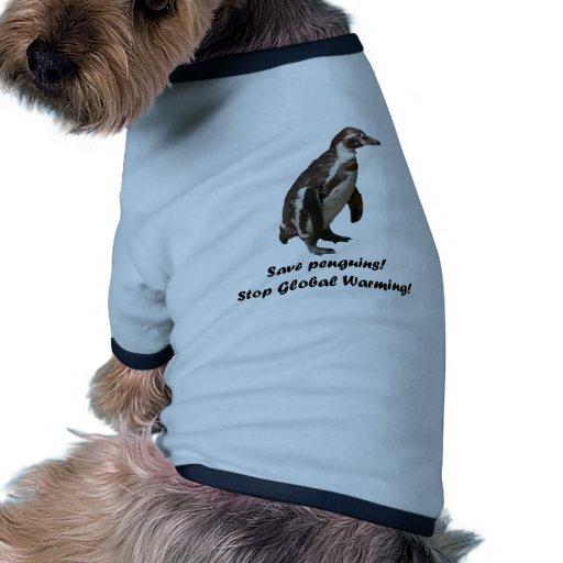 "Hunde T-Shirt ""Save penguins.."" Dog Tee"