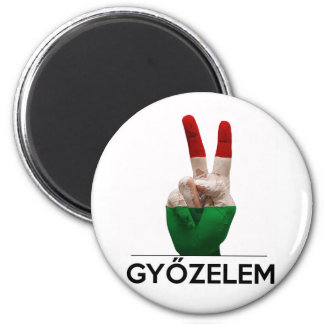Hungarian Magyar victory hand v-shape peace finger 6 Cm Round Magnet