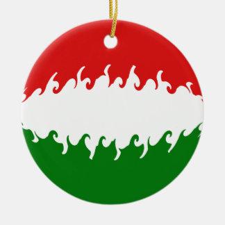 Hungary Gnarly Flag Round Ceramic Decoration