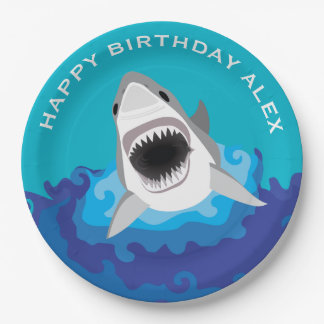Hungry as a Shark Boy's Birthday Party 9 Inch Paper Plate