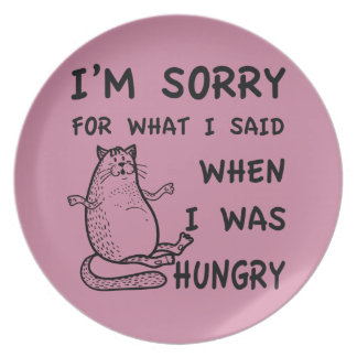 Hungry Fat Cat Funny Plate