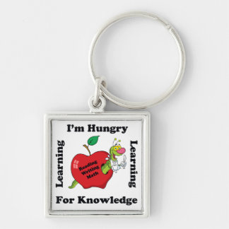 Hungry For Knowledge Silver-Colored Square Key Ring