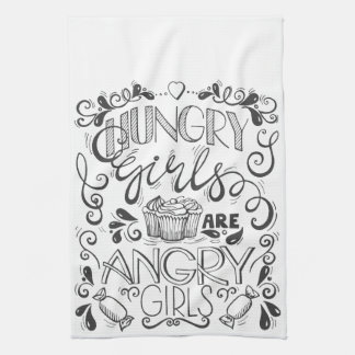 Hungry Girls are Angry Girls Kitchen Towels, White Tea Towel