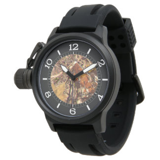 Hunter Fall Nature Camouflage Painting Dial Decor Watch