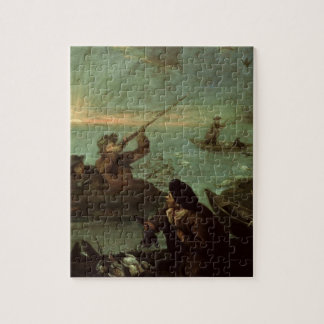 Hunters Shooting at Ducks (oil on canvas) Jigsaw Puzzle