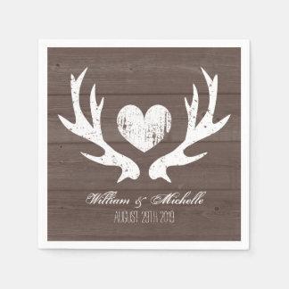 Hunting country chic deer antler wedding napkins disposable serviette