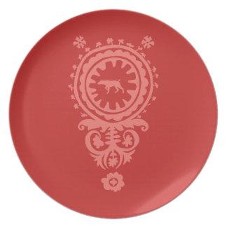HUNTING WEIMARANER RED FLORAL MELAMINE PLATE