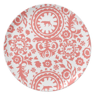 HUNTING WEIMARANER RED/WHITE FLORAL PLATE