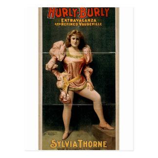 Hurly Burly, 'Sylvia Thorne' Retro Theater Postcard
