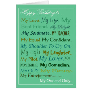 Husband-Fiance-Boyfriend Birthday Card lover card