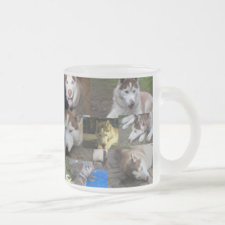 husky  collage frosted glass coffee mug