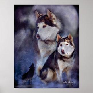 Husky -Night Spirit Art Poster Print