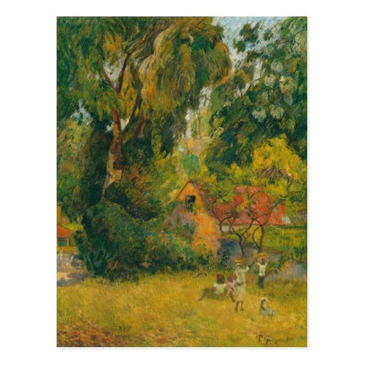 Huts Under the Trees by Paul Gauguin Post Card