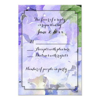 Hydrangea Floral Watercolor Custom RSVP Card