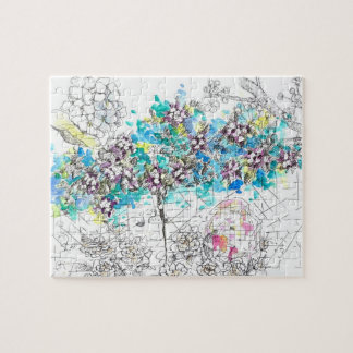 Hydrangea Flower Drawing Watercolor Collage Jigsaw Puzzle