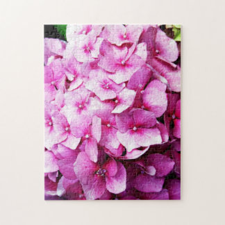 Hydrangea flowers, pink and red jigsaw puzzle