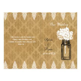 Hydrangea mason jar burlap folded Wedding program 21.5 Cm X 28 Cm Flyer