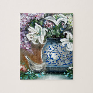 Hydrangeas and White Lillies Jigsaw Puzzle