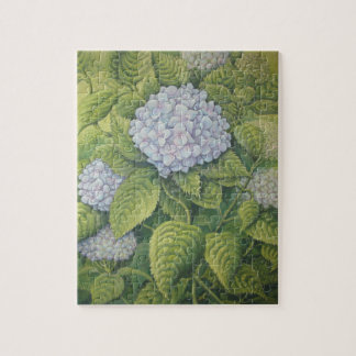 Hydrangeas at Lanhydrock, Cornwall in Pastel Jigsaw Puzzle